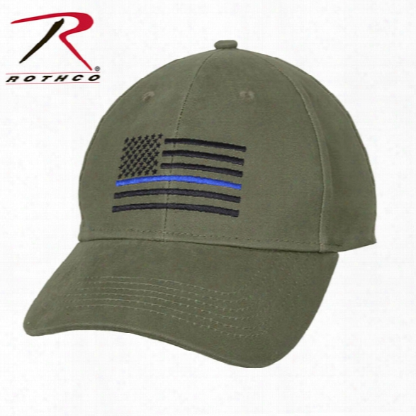 Rothco Thin Blue Line Flag Low Profile Cap, Olive Drab - Blue - Male - Included