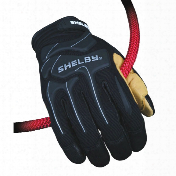 Shelby Glove L Eather Rope Rescue Gloves, Black/tan, 2x - Black - Unisex - Included