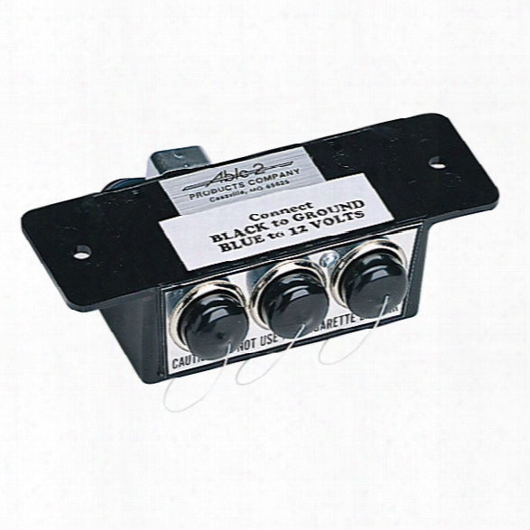 Sho-me Three Accessory Outlets In One Compact Box, 12v, 15 Amps Each - Black - Male - Included