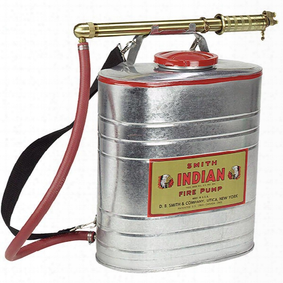 Smith Indian Fire Pump, 5 Gallon Galvanized Steel Tank W/ Smith Indian Pump - Brass - Male - Included