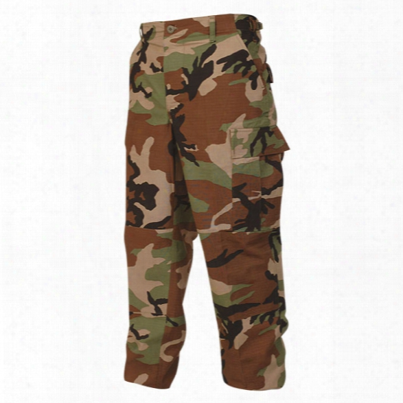 Tru-spec Bdu Pant, Cotton Ripstop, Woodland, 2x Long - Black - Male - Included