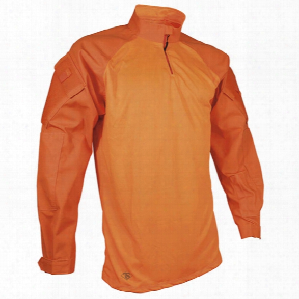 Tru-spec Tru 1/4 Zip Combat Shirt, Poly/ctn Twill, Orange, 2x-large Long - Orange - Male - Included