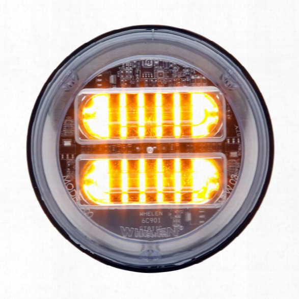 "Whelen 4"" Round Super-led® Lighthead, Scan-lock™ Flash Patterns W/ Extended Lens, Synchronizable, Amber/clear - Black - Male - Excluded"