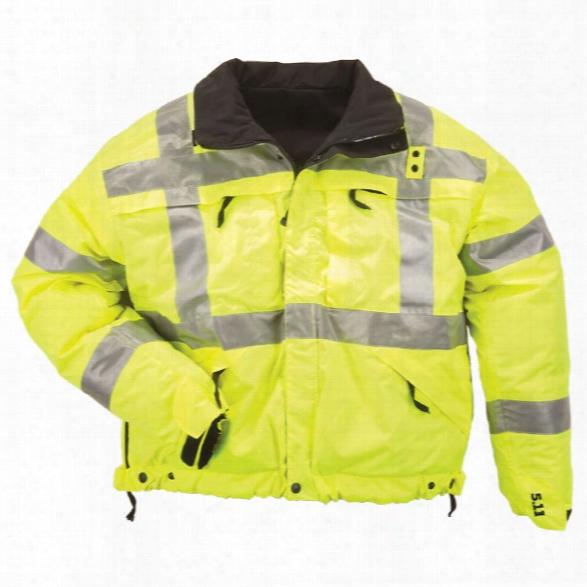 5.11 Tactical Reversible Hi-vis Reflective Jacket, Hi-vis Yellow, Xx-large - Black - Male - Excluded