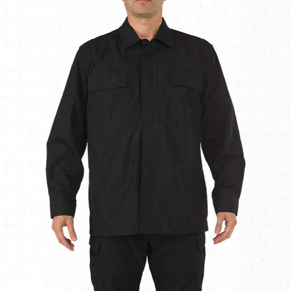 5.11 Tactical Tdu 65/35 Poly/cotton Ripstop Shirt W/ Elbowpads, Regular Length, Black, Xx-large - Black - Male - Excluded