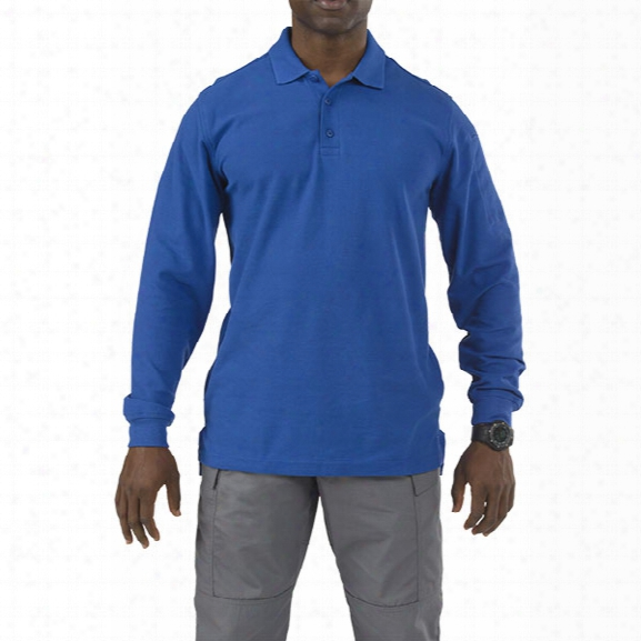 5.11 Tactical Utility Long Sleeve Polo, Academy Blue, 2x-large - Blue - Male - Excluded