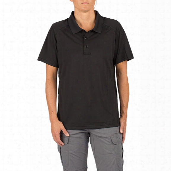 5.11 Tactical Women's Helios Short Sleeve Polo, Black, Large - Black - Female - Excluded