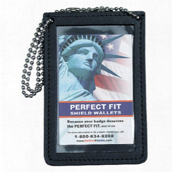 "Perfect Fit Double Id Holder For Neck With 30"" Chain, Black, Id 3 3/4 X 4 1/2"" - Black - Male - Included"
