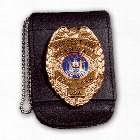 "Perfect Fit Universal Badge And Id Holder With 30"" Chain & Hook & Loop Closure, Black, Id 2 3/4"" X 3 1/4"", Badge Width 3"" - Black - Male - Included"