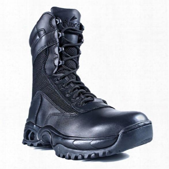 "Ridge Outdoors Air-tac Plus Zipper 8"" Boot, Black Leather/black Mesh Nylon, 9 Wide - Black - Male - Included"