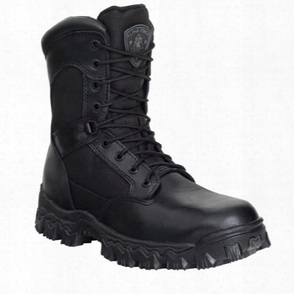 "Rocky 8"" Alpha Force Boot, Black, 10.5m, Composite Toe, Side Zip, Mens - Metallic - Male - Included"