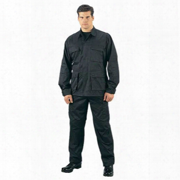 Rothco Rip-stop Bdu Pant, Black, Large Long - Black - Male - Included