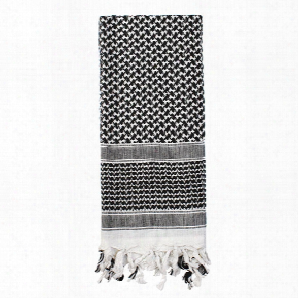 Rothco Shemagh Desert Scarf, Black/white - Black - Male - Included