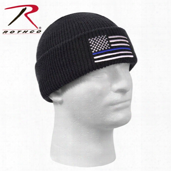 Rothco Thin Blue Line Black Deluxe Watch Cap - Blue - Male - Included