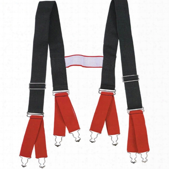 Seco Heavy-duty H-back Turnout Suspenders, Red/black - Black - Male - Included