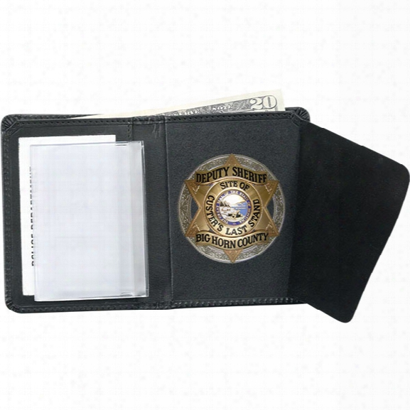 Strong Leather Book-style Badge Wallet, Oval - Black - Male - Included