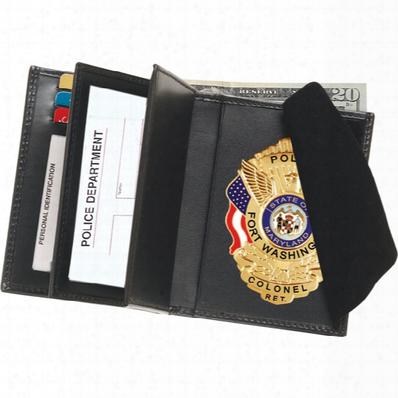 "Strong Leather Deluxe Double Id Hidden Badge, Credit Card & License Wallet, Fits Id 3"" X 4-1/2"" - Black - Male - Included"