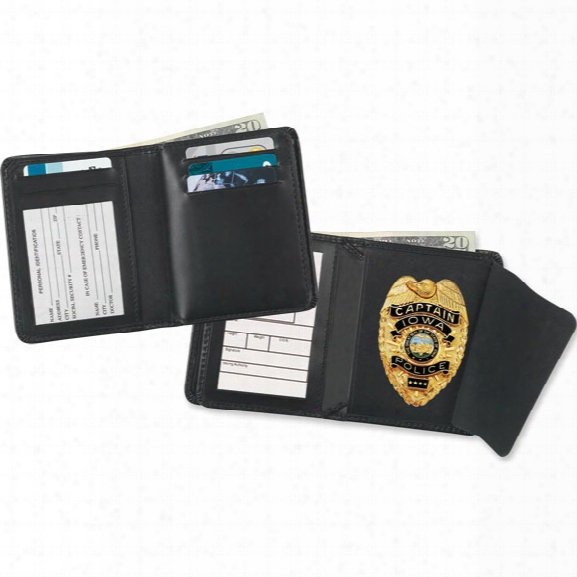 Strong Leather Deluxe Hidden Badge Single Id Badge Wallet, Oval - Black - Male - Included