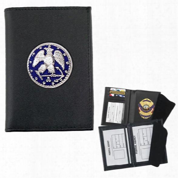 Strong Leather Double Id Badge Case For Your Challenge Coin, Black - Black - Male - Included