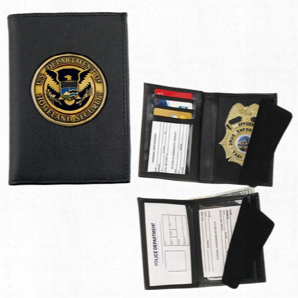 Strong Leather Double Id Badge Wallet For Your Challenge Coin, Black - Black - Male - Included