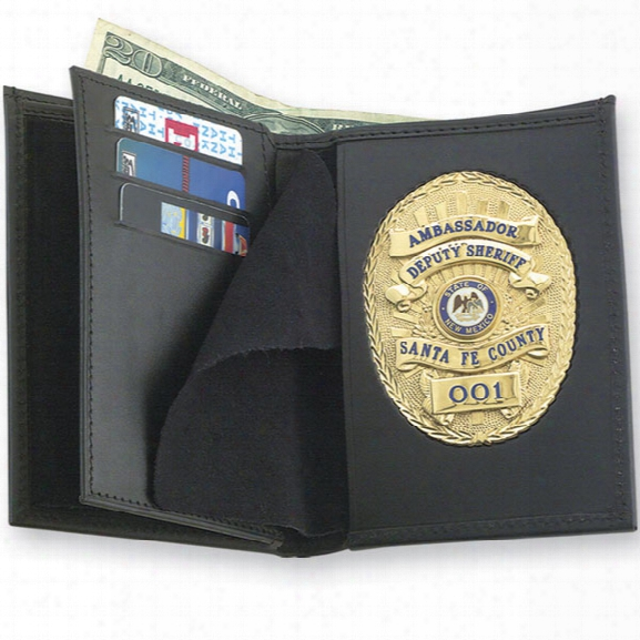 Strong Leather Double Id Badge Wallet, Oval - Black - Male - Included