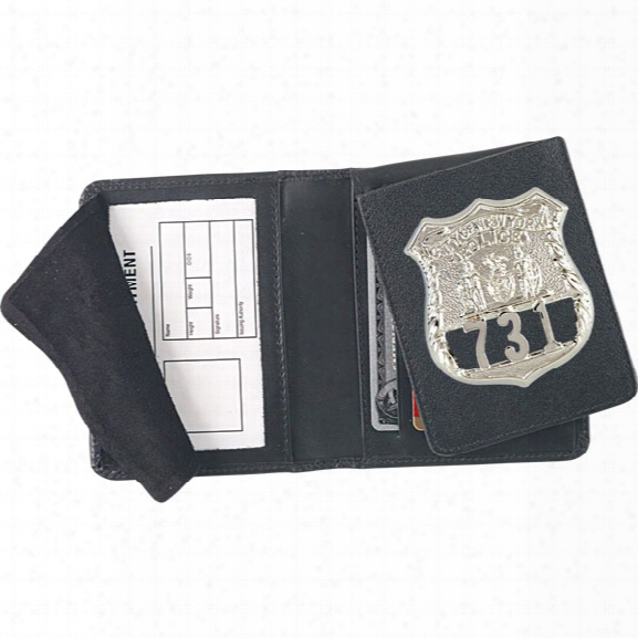 "Strong Leather Flip Out Badge Case, Id Size 2-3/4"" X 4"" - Black - Male - Included"