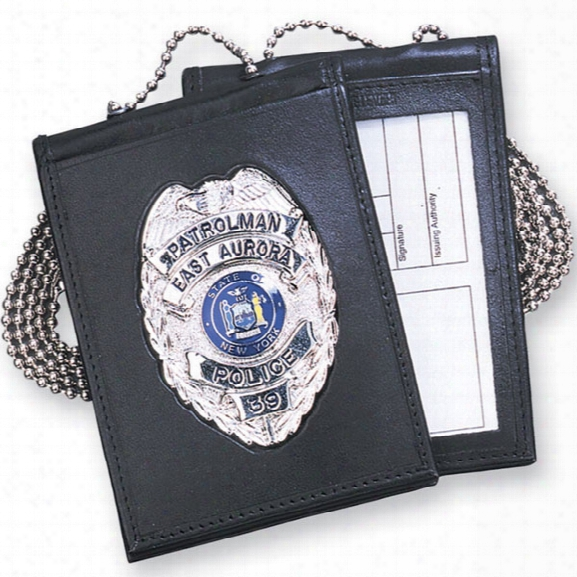 Strong Leather Neck Badge & Id Holder No Cutout - Black - Male - Included