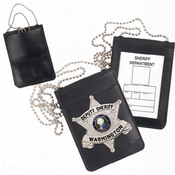 "Strong Leather Nonrecessed Magnetic Badge & Id Holder W/chain, Fits Id 2-1/2"" X 3-3/4"" - Black - Male - Included"