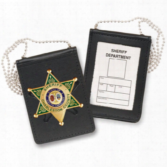 "Strong Leather Recessed Magnetic Badge & Id Holder W/chain, Fits Id 2-1/2"" X 3-3/4"" - Black - Male - Included"