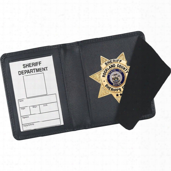 "Strong Leather Side Open Badge Case, Id Size 2-3/4"" X 4"" - Black - Male - Included"