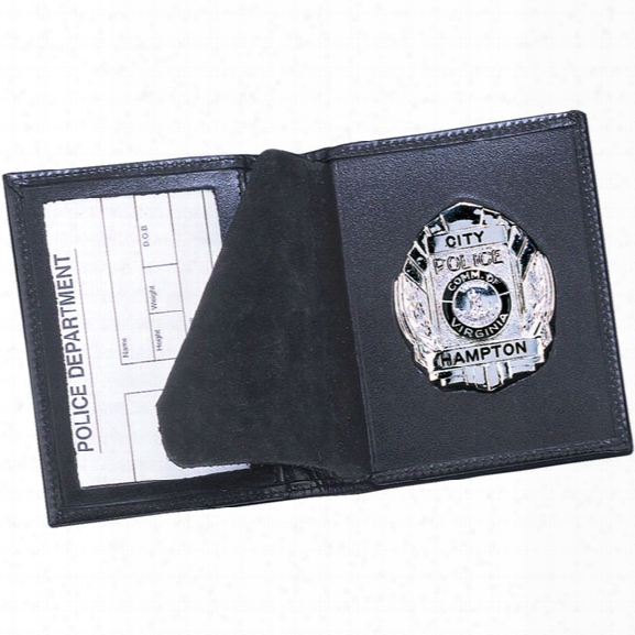 Strong Leather Side-opening Badge Case, Oval - Black - Male - Included