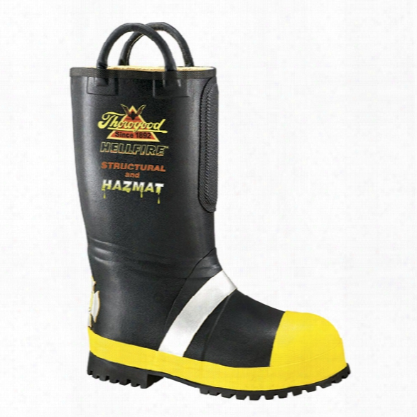 Thorogood Rubber Insulated Fire Boot, Lug Sole, Black & Yellow, 10.5m - Yellow - Male - Included
