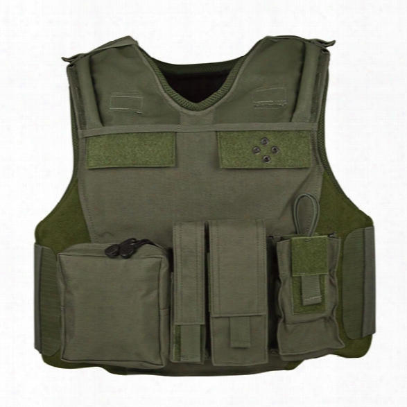 American Body Armor Tac Carrier, Clean (psec Color & Panel Size) - Black - Male - Included