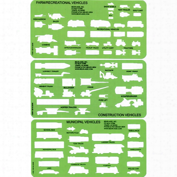 Bear-aide, Inc. Large Vehicle Template Set - Unisex - Included