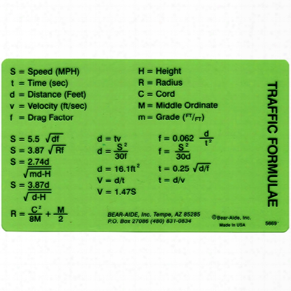 Bear-aide, Inc. Traffic Formula Card - Green - Unisex - Included