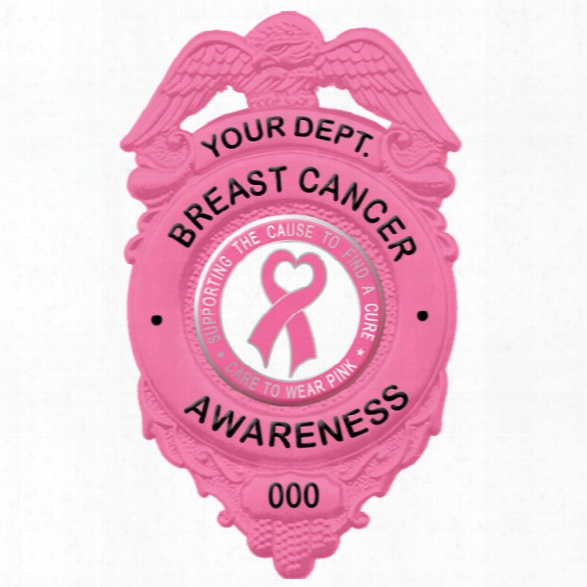 "Blackinton Breast Cancer Awareness Badge, 2-9/16"" X 1-9/16"" - Pink - Male - Included"