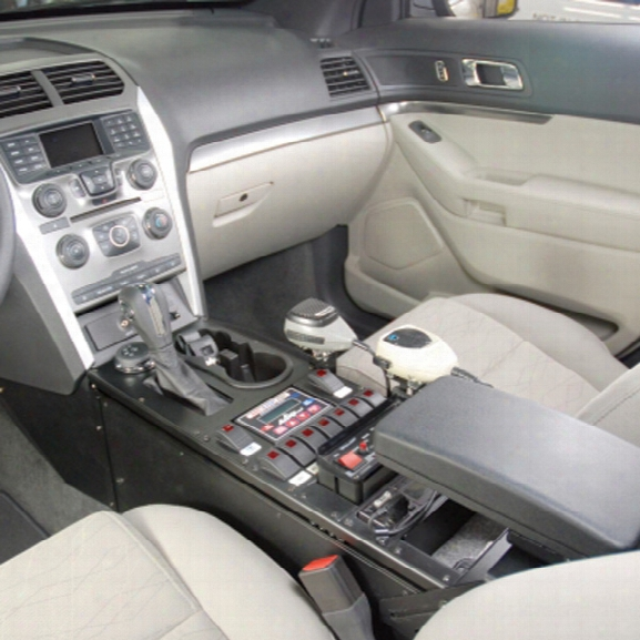 "Havis Vehicle Specific Console, 16"" Total Mounting Space, 0 Degree, Housing Complete For 2011 Ford Explorer - Male - Excluded"