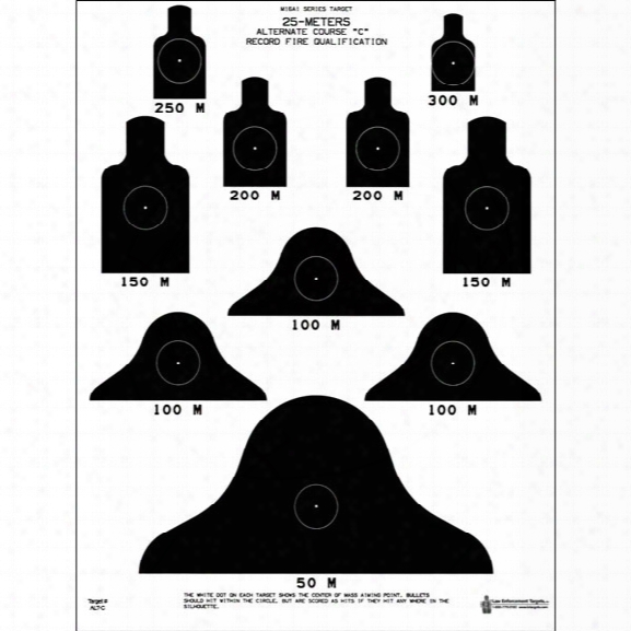 Law Enforcement Targets Dod-m16a1 Target, 25-meter, 25/pk - Black - Unisex - Included