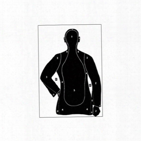 Law Enforcement Targets Paper Target, 25 Yard Silhouette, Black, 25/pk - Black - Unisex - Included