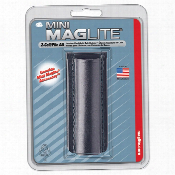 Mag-lite Holster For Mini Maglite® Aa Flashlight, Plain Leather - Brass - Male - Included