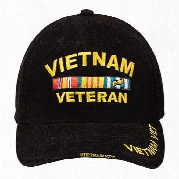 Rothco Deluxe Low-profile Ball Cap, Black W/ Vietnam Veteran In Gold Lettering - Black - Male - Included