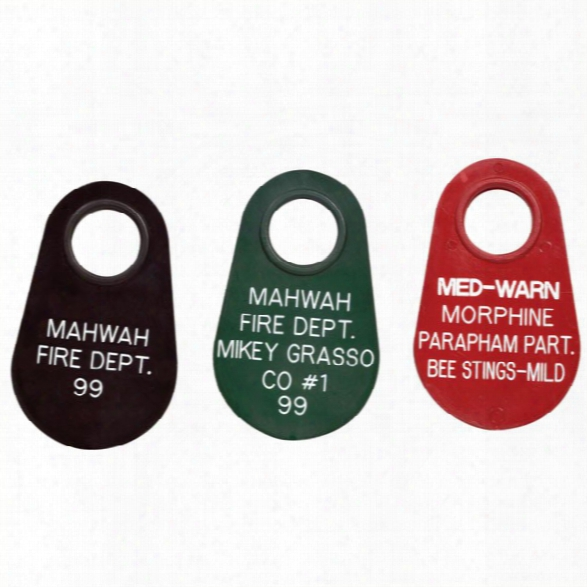 American Trade Mark Accountability Tag, 5 Lines  Of Text, Provide Color (1-9) - Red - Male - Included