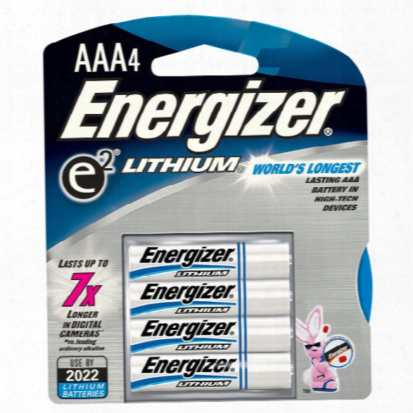 Energizer Lithium Aaa Batteries, 4 Pack - Unisex - Included