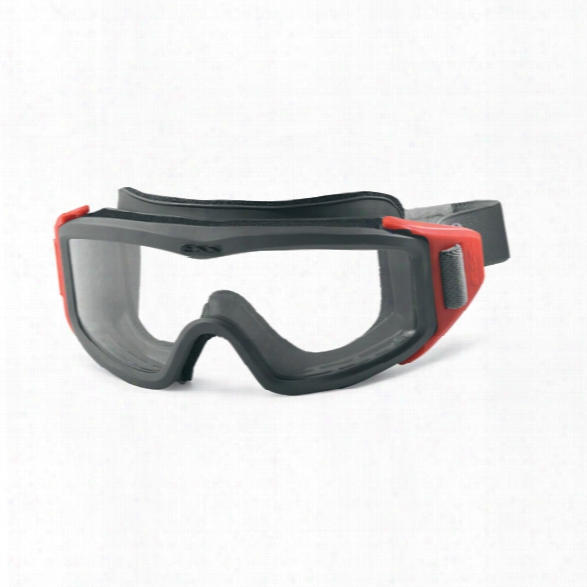 Ess Fire Pro Fs Goggles, Low Profile Frame With Full Strap And Hook & Loop, Clear Lense W/gray And Red Frame - Red - Male - Included