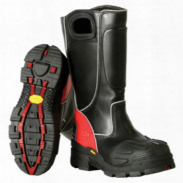 Fire-dex Leather Structural Fire Boot, Black/red, 10.5m - Red - Male - Included