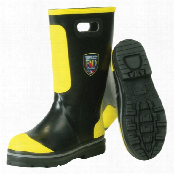 Fire-dex Rubber Fire Boot, Black/yellow, 10.5m - Black - Male - Included