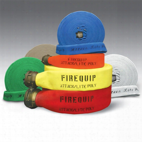 "Firequip Attack Lite Large-diameter Polyester Fire Hose, 4"" X 100-ft., Aluminum Couplings, Orange - White - Male - Excluded"
