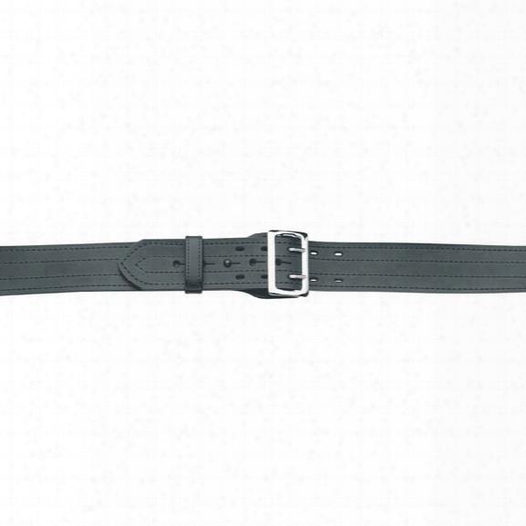 "Gould & Goodrich 49 E-z Slide Duty Belt, 4-row Stitched, Plain Black, 24"", Nickel Buckle - Black - Unisex - Included"