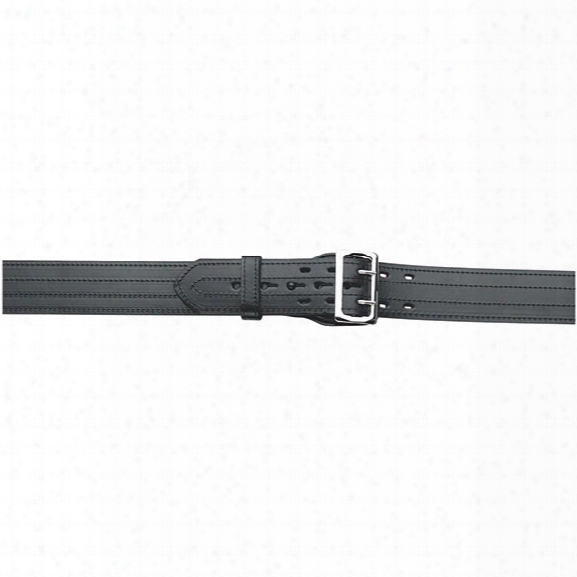 """Gould & Goodrich 59 Sam Browne Lined Duty Belt, 4-row Stitched, Hi-gloss, Nickel Buckle, 24"""" - Black - Unisex - Included"""