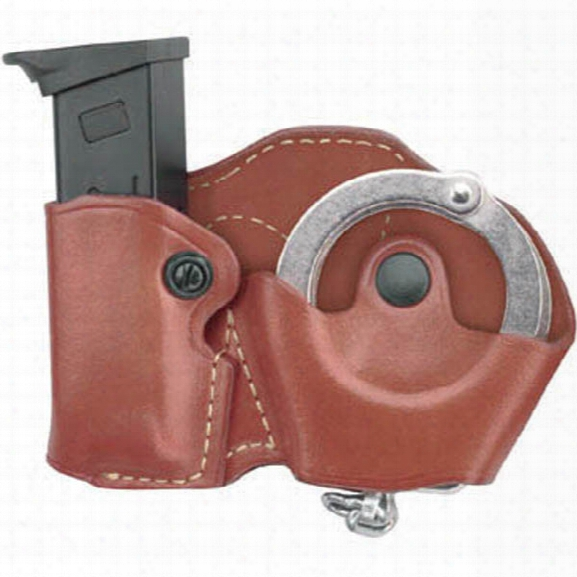 Gould & Goodrich 821 Cuff Case/mag Case Combo, Chestnut Brown, Rh, Fits Beretta 83, 85, 87, Nano, Colt Defender, Ruger 1911, Sig P230, P232, P938, Wal - Brown -